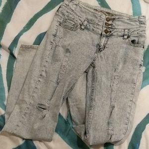 High Waisted Acid Wash Jeans